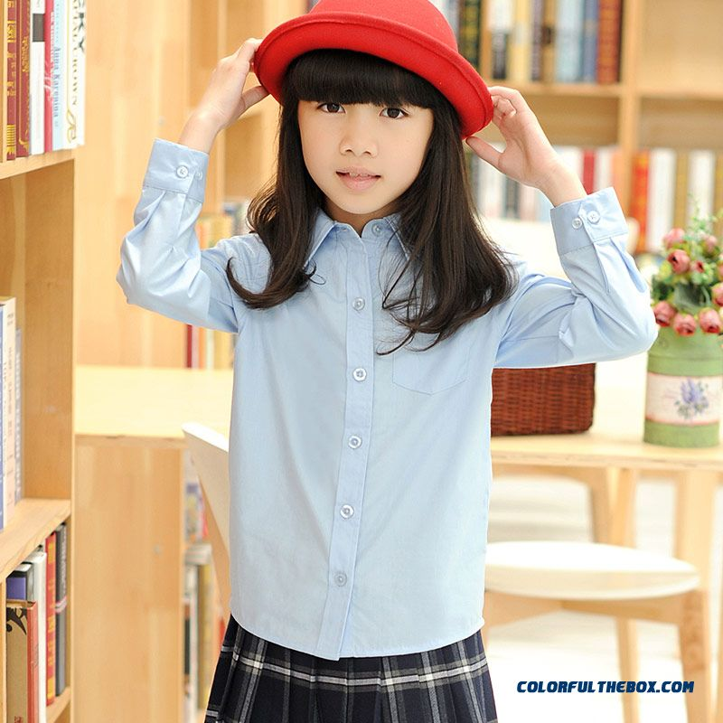 Girls Kids Long Sleeve Lapel Shirt Kids College Style 2016 New Solid Color Shirts