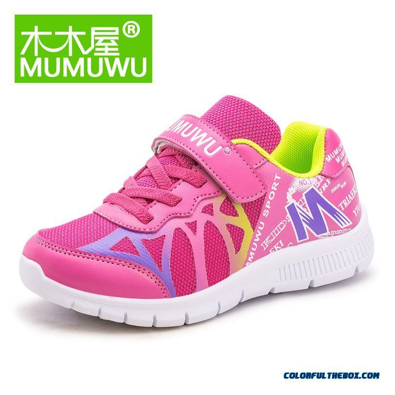 Girls Kids Shoes Breathable Mesh Casual Shoes Red Blue Pink Running Shoes Free Shipping - more images 2