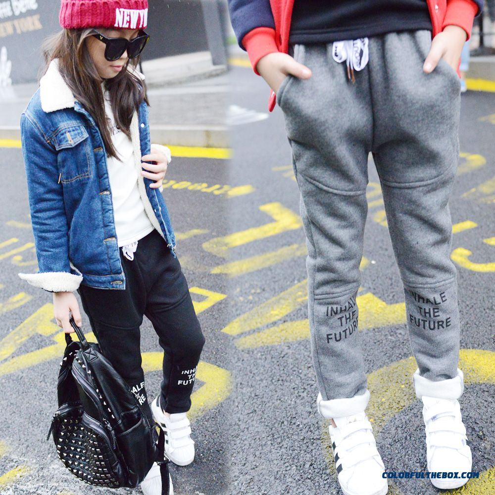 Girls Korean Style Design Fashion Sport Long Pants Grey Black Kids Pants