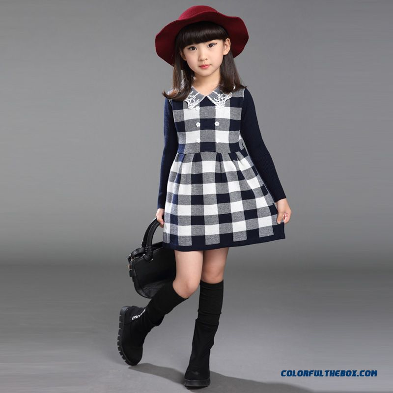 Girls Lace Dress Lapel Plaid Sweater Kids Clothing Big Kids Wool A-line Dress