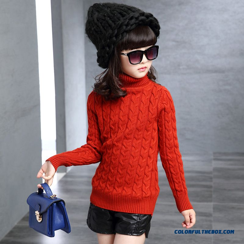 Girls Lapel Sweater 2016 Spring Models All-match Bottoming Solid Color Knit Sweater Kids