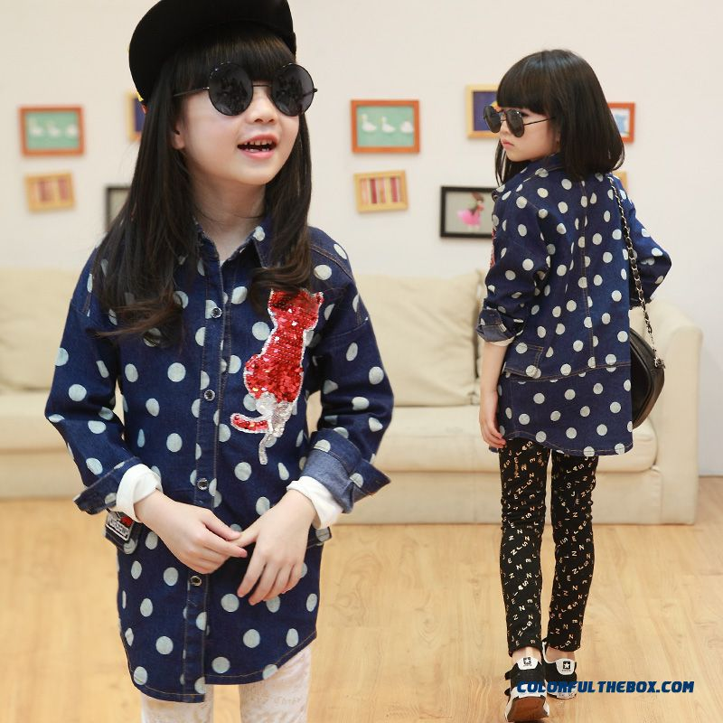 Girls Loose Denim Shirt 2016 Design For Kids Medium-long Section Dot Long-sleeved Shirt