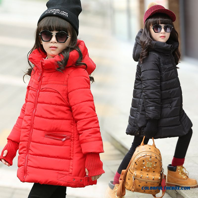 Girls Mediu -long Thick Warm Padded Coat Boutique Fabrics Kids Clothing