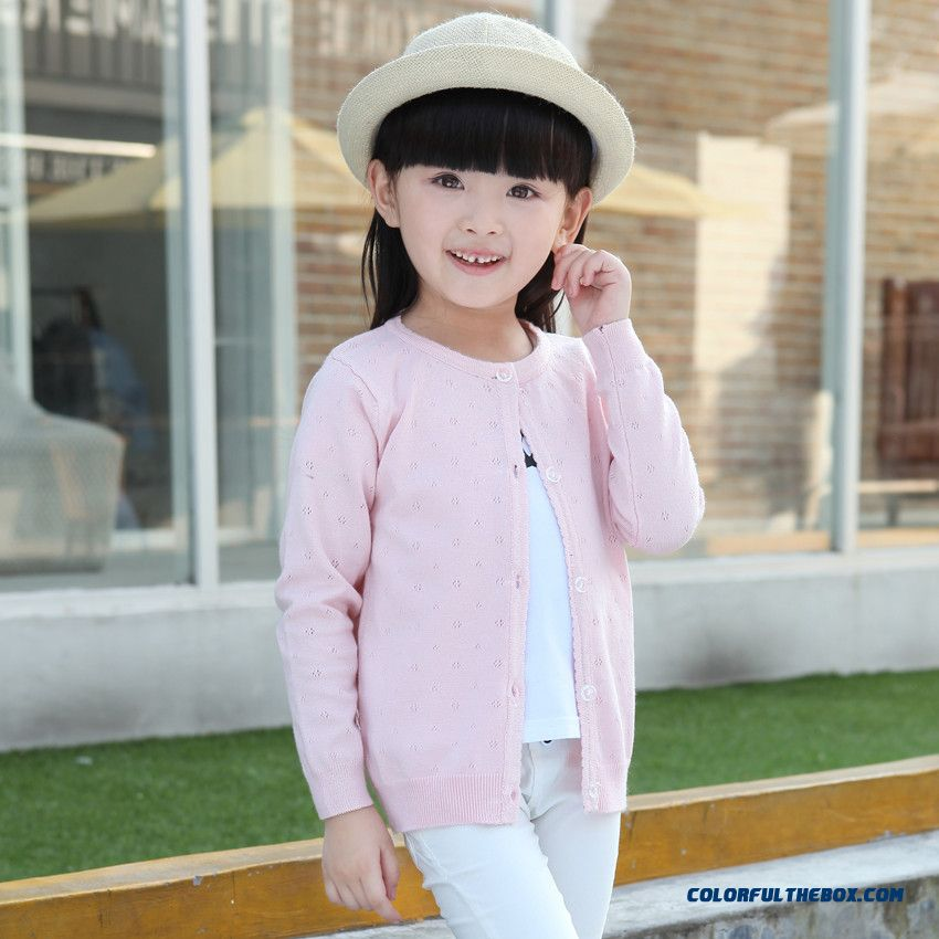 Girls New Children Wear Round Neck Sweater Coat Girls Flowers Openwork Knit Cardigan Kids Clothing