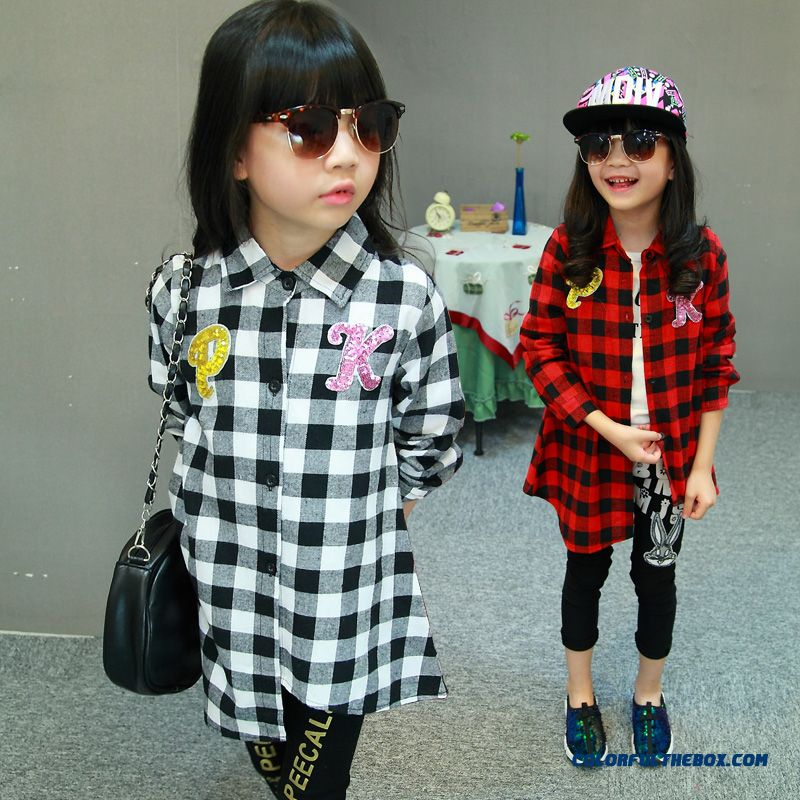 Girls Plaid Shirt Pk Big Kids Long Section Big Names Style Irregular Loose Long-sleeved Blouses