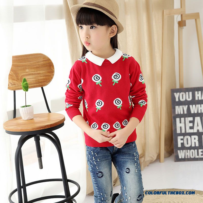 Girls' Pullover All-match Kids Bottoming Shirt Winter Big Kids Clothing Sweater Coat Pattern Lollipops