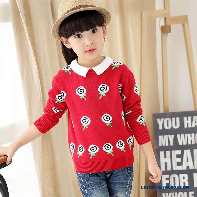 Girls' Pullover All-match Kids Bottoming Shirt Winter Big Kids Clothing Sweater Coat Pattern Lollipops - more images 1