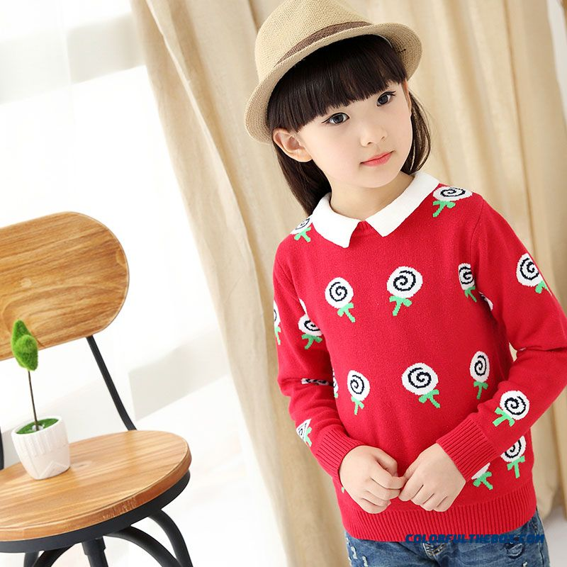 Girls' Pullover All-match Kids Bottoming Shirt Winter Big Kids Clothing Sweater Coat Pattern Lollipops - more images 3