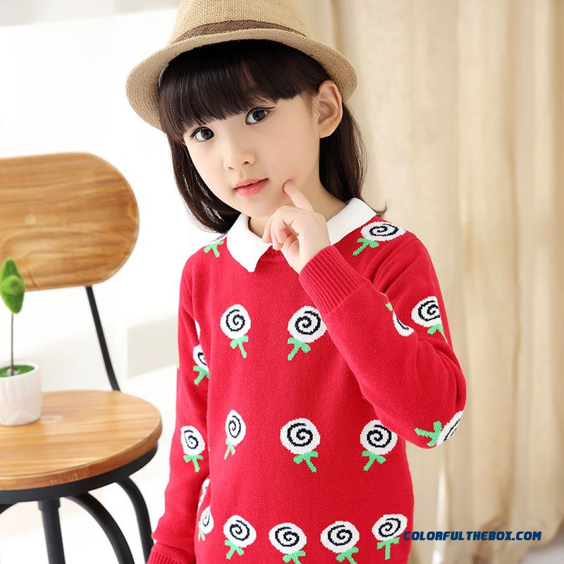 Girls' Pullover All-match Kids Bottoming Shirt Winter Big Kids Clothing Sweater Coat Pattern Lollipops - more images 4