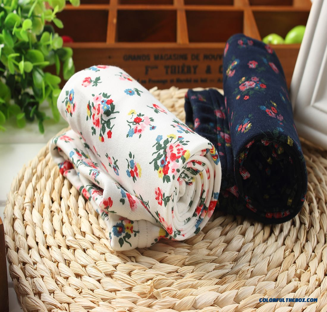 Girls Render Pants Cotton White Floral Prints Baby Kids Long Pants Thicken