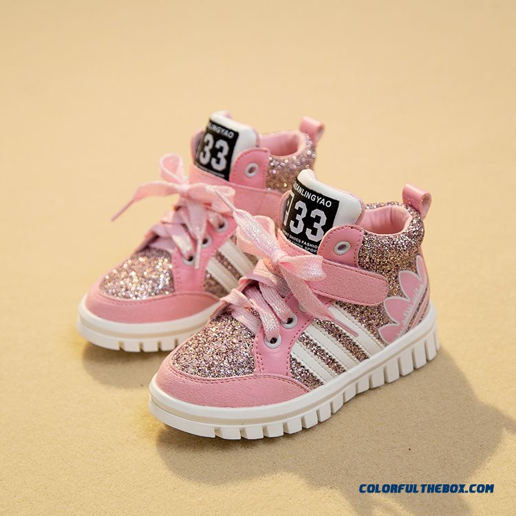 Girls Running Shoes Casual Shoes Sequined Board Sh Girls Running Shoes Casual Shoes Sequined Board Shoes Pink For Kidsoes Pink - more images 1