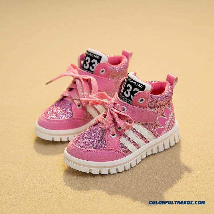 Girls Running Shoes Casual Shoes Sequined Board Sh Girls Running Shoes Casual Shoes Sequined Board Shoes Pink For Kidsoes Pink - more images 2