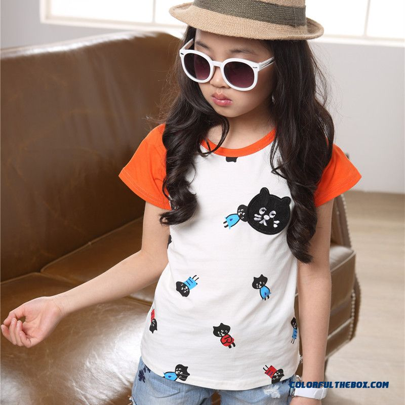 Girls Short-sleeved T-shirt Older Kids Short-sleeve Clothing Girls Summer Cotton T-shirts