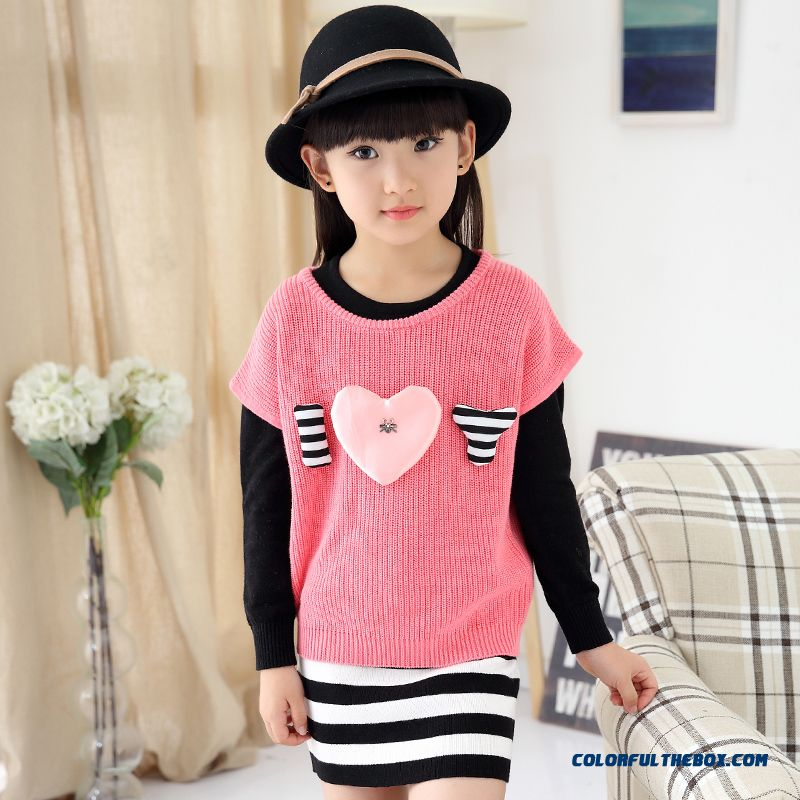 Girls Spring New Fake Two-piece Dress Lady Sweater Dress Medium-long Design For Kids - more images 1
