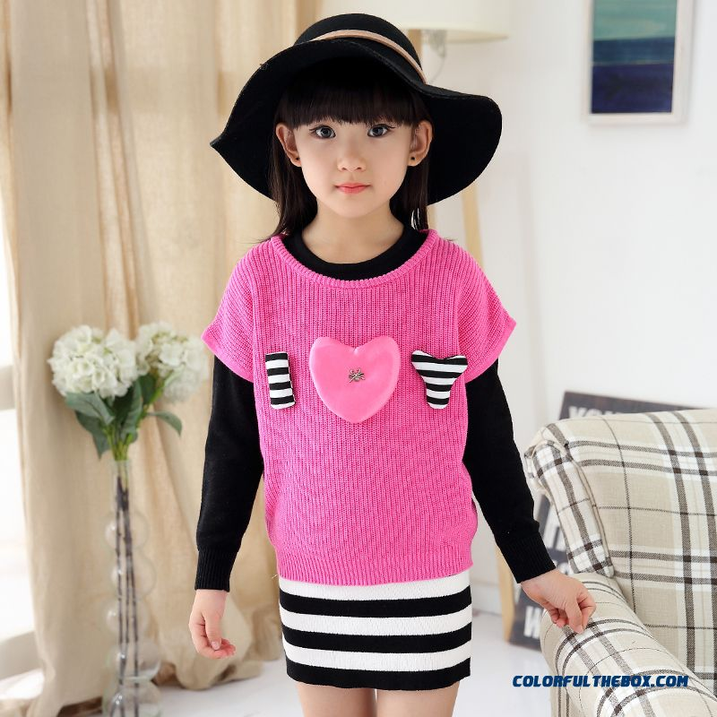 Girls Spring New Fake Two-piece Dress Lady Sweater Dress Medium-long Design For Kids - more images 2