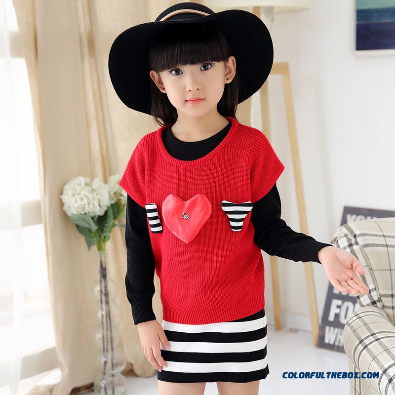 Girls Spring New Fake Two-piece Dress Lady Sweater Dress Medium-long Design For Kids - more images 3