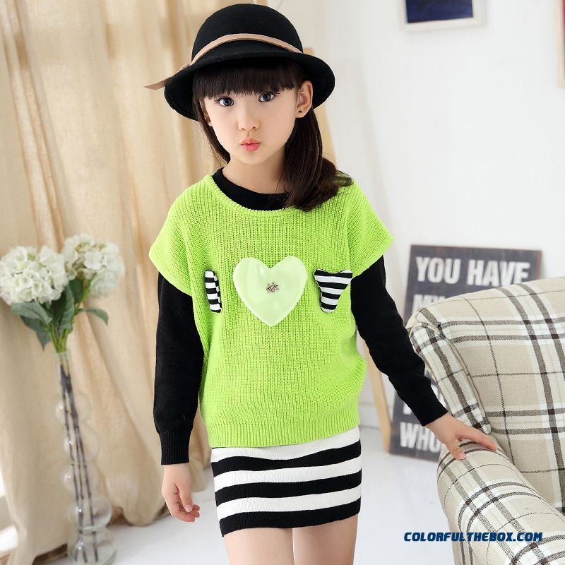 Girls Spring New Fake Two-piece Dress Lady Sweater Dress Medium-long Design For Kids - more images 4