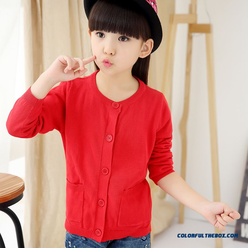 Girls Sweater Cardigan Sweater Jacket All-match Kids Clothing Kids Pure Color Low Price - more images 1