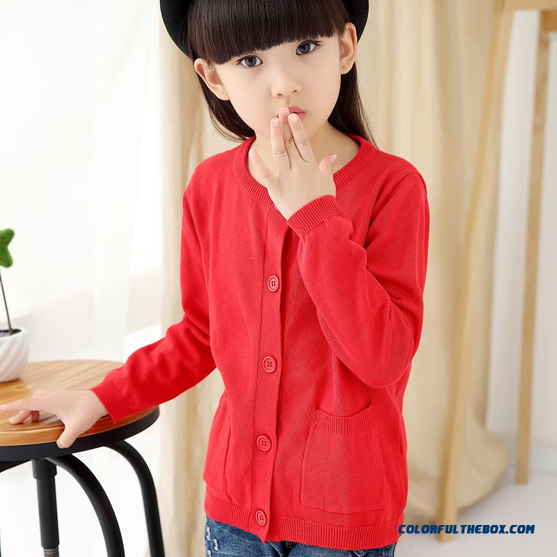Girls Sweater Cardigan Sweater Jacket All-match Kids Clothing Kids Pure Color Low Price - more images 2