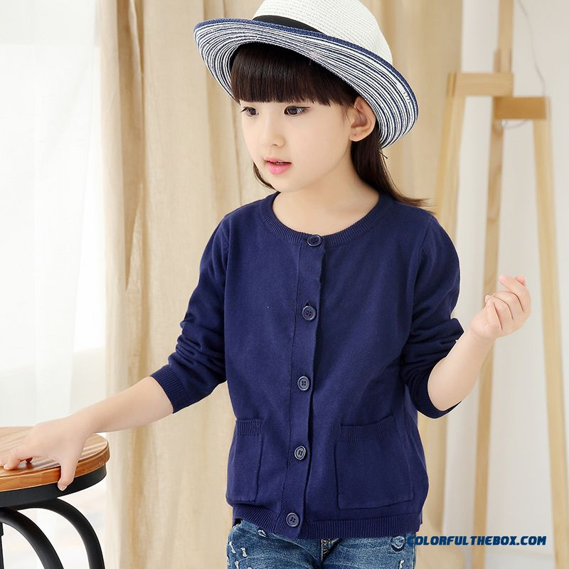 Girls Sweater Cardigan Sweater Jacket All-match Kids Clothing Kids Pure Color Low Price - more images 3