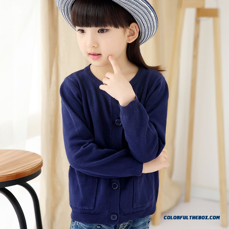 Girls Sweater Cardigan Sweater Jacket All-match Kids Clothing Kids Pure Color Low Price - more images 4
