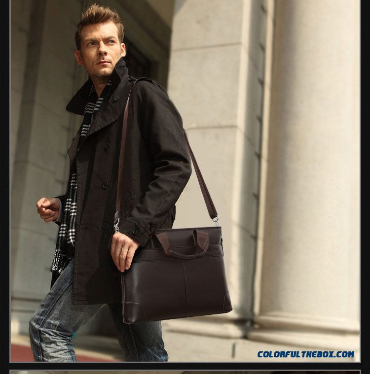 Global Free Shipping Luxury Leather Business Briefcase Laptop Bag Genuine Leather Men's Bag