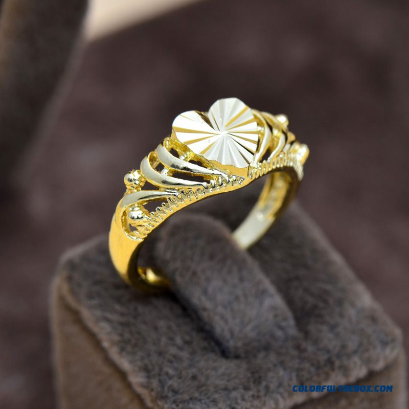 Gold Rings Heart-shaped Gold-plated 18k Fadeless Eventually Wome Jewelry Rings