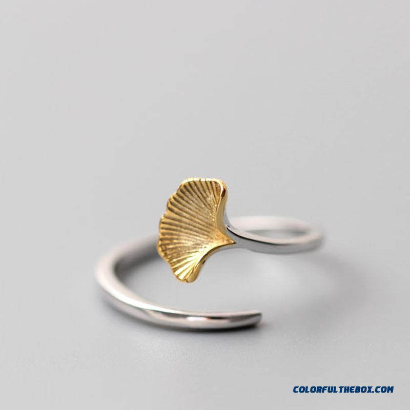 Golden Ginkgo Leaves Openings Ring Wholesale Fashionable Women's Jewelry