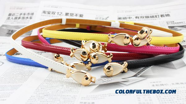 Goldfish Buckle Ladies Thin 98 Cm Belt Candy Color Patent Leather Fashion Rhinestone Decorated Women Crony