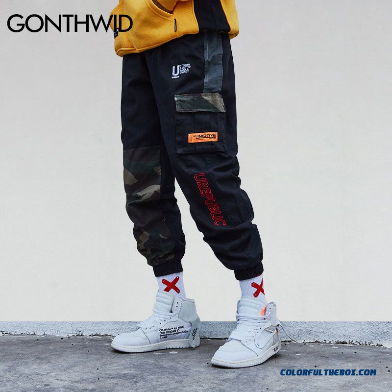 Gonthwid Camouflage Patchwork Side Pocket Cargo Harem Pants Mens Casual Jogger Streetwear Hip Hop 2018 Streetwear Trousers Male