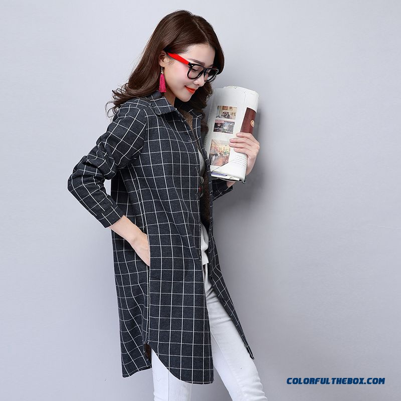 Good Quality Comforable Cotton Plaid Shirts Plus Thick Velvet Medium-long Bottoming Shirt