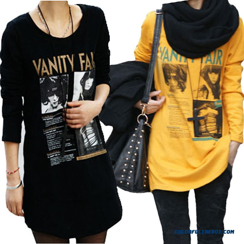 Good Quality Comforable Medium-long Bottoming Shirt Loose Long-sleeved T-shirt Women