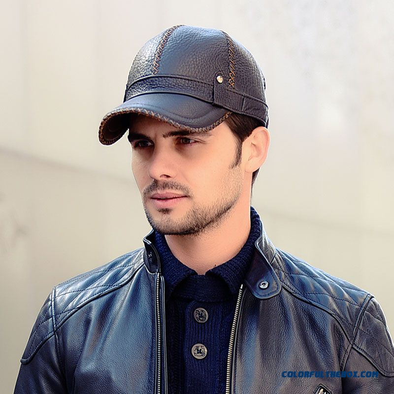 6eb52215d06 Good Quality Comforable Men s Leather Baseball Cap Winter Hat Ear Proteced Warm  Old Leather Hat
