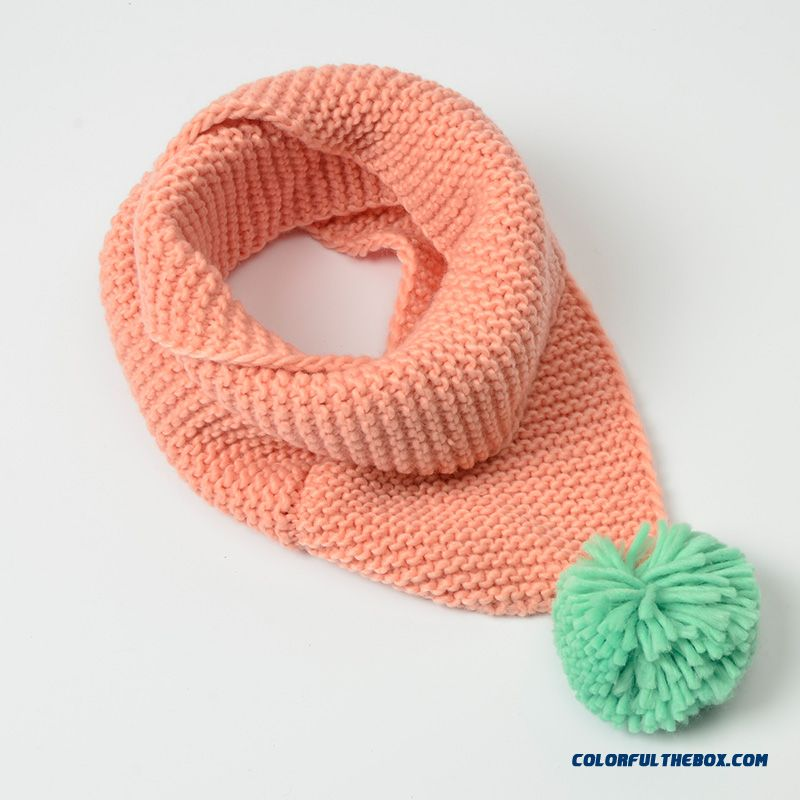 Good Quality Solid Color Lovely Neck Scarves Special Offer For Girls Kids Warm Wool Hairball Scarves
