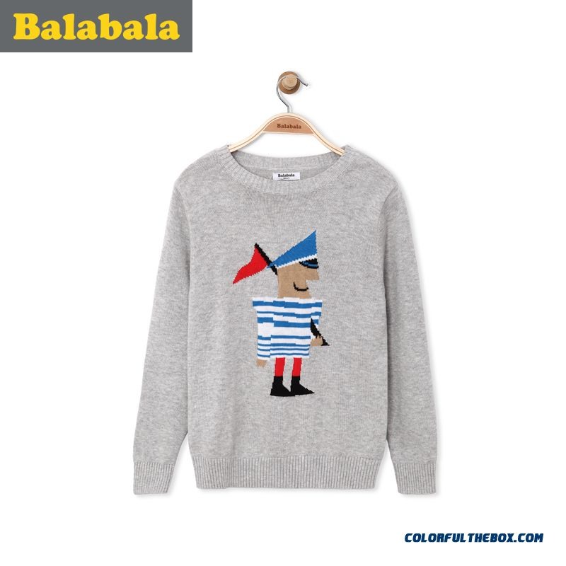 Good Qualoty Balabala Kids Clothing Big Kids Boy Sweater 2016 Spring New Grey Blue Sweater Hot