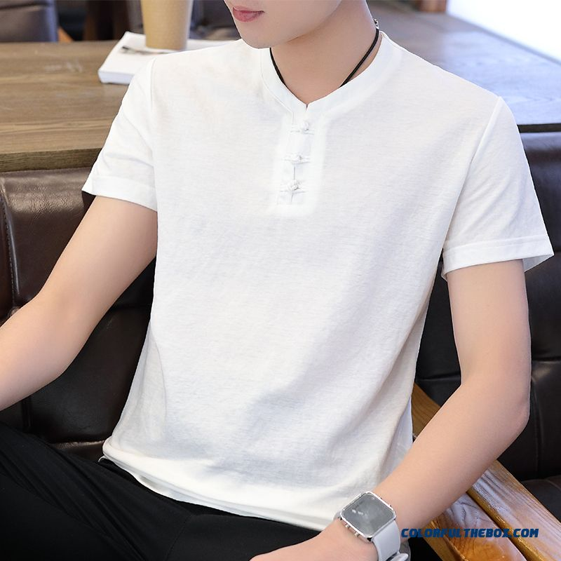 Half Sleeve Chinese Style Retro Europe White Men's Cotton Youth T-shirt Short Sleeve Trend