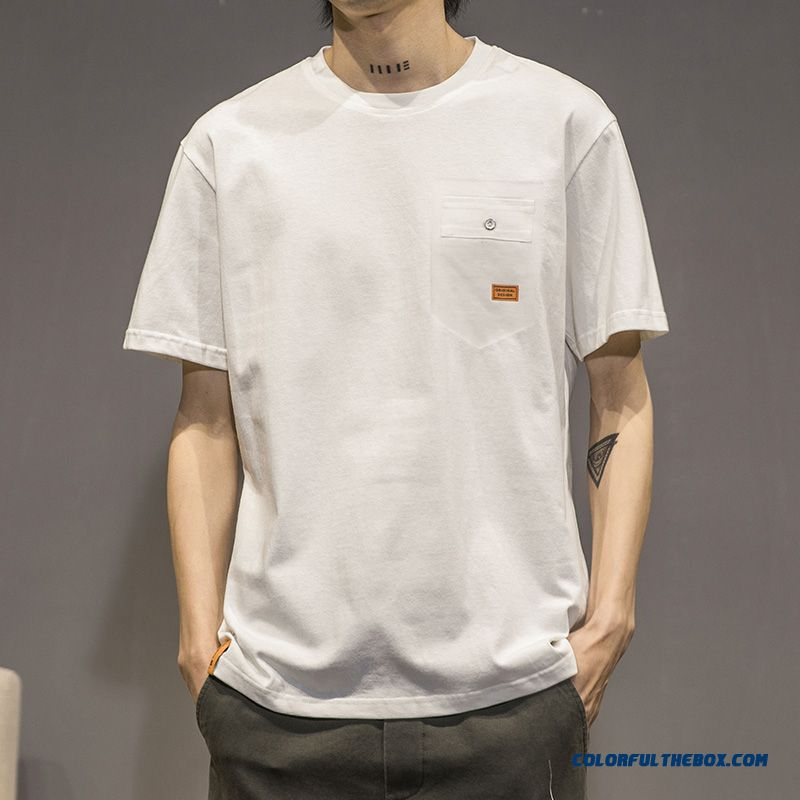 Half Sleeve Round Neck T-shirt Pure Trend Men's New Simple Summer Short Sleeve Cotton All-match Youth White