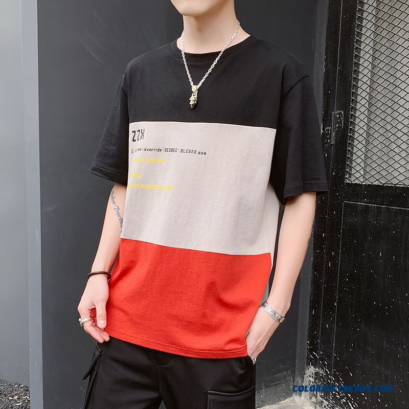 Half Sleeve Short Sleeve Loose Bottoming Shirt Splicing T-shirt Europe Black Men's Trend New Summer