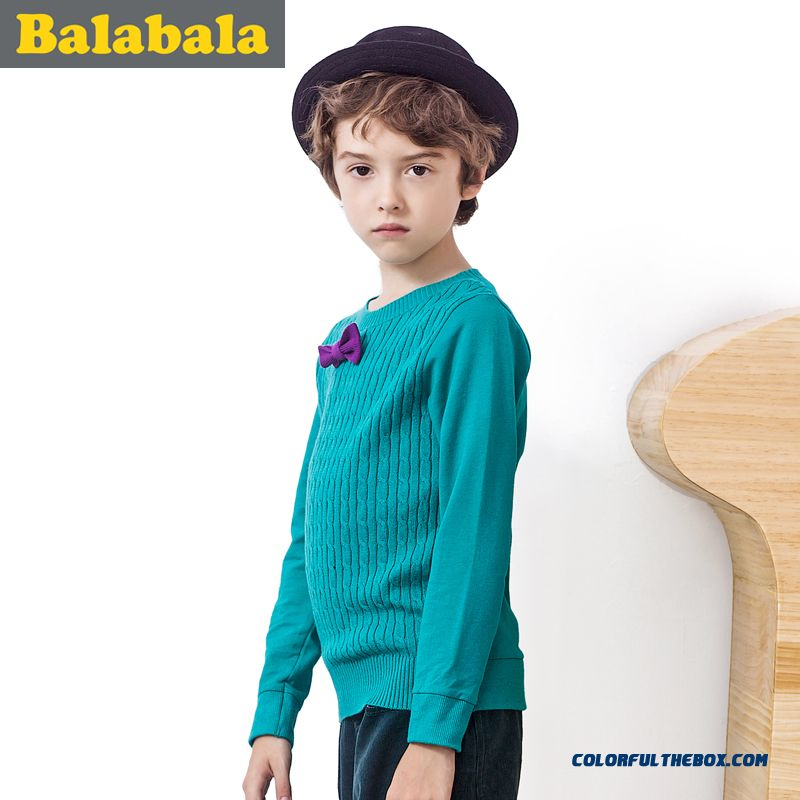 Handsome Boy Twist Round Neck Sweater Solid Color Big Boy Kids' Sweater 2016 New Clothing