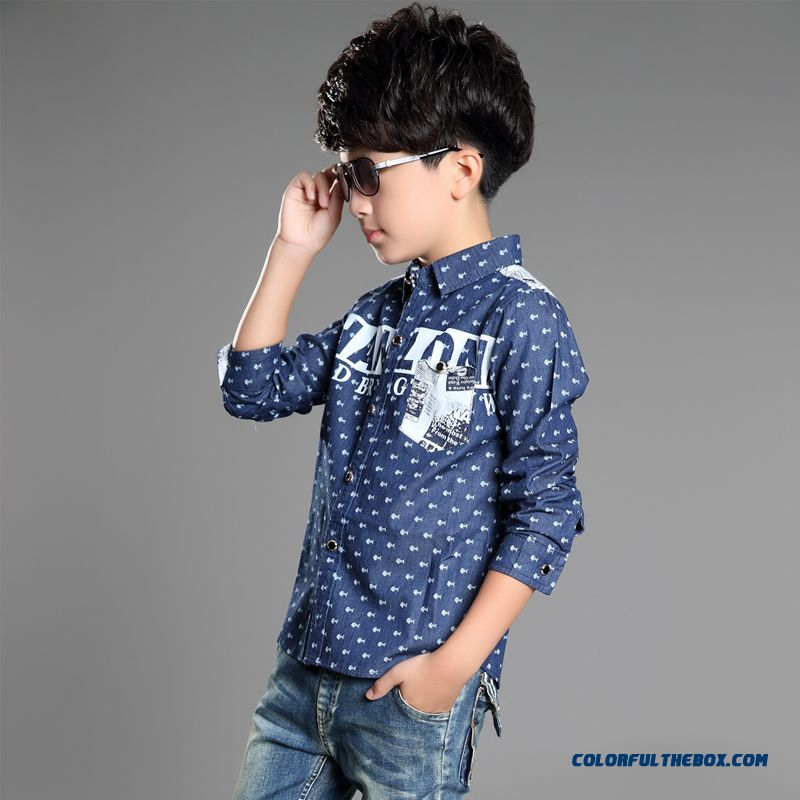 Handsome Boys Favorite Blouse & Shirt Blue Long Sleeves Laple Kids' Clothing On Sale - more images 1