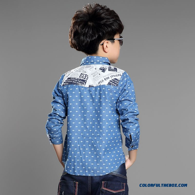Handsome Boys Favorite Blouse & Shirt Blue Long Sleeves Laple Kids' Clothing On Sale - more images 3