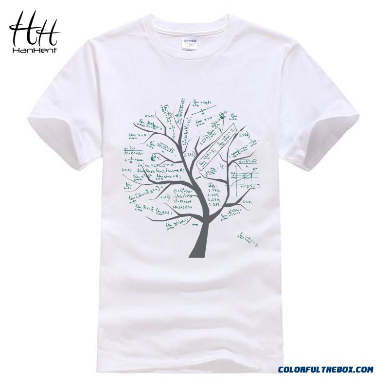 Hanhent Mathematical Math Formula Tree Printed T Shirt Short Sleeve Summer Style Tshirt Casual Cotton Swag Geeks T-shirt Men