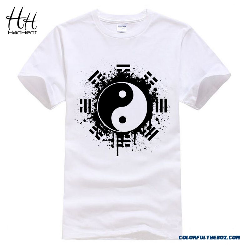 Hanhent New 2016 Fashion Summer Brand T Shirt Men Tops Chinese Tai Chi Ink Ying Yang Tshirt Printed Cotton Clothing T-shirt Tees