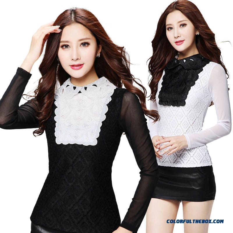 Haute Couture Spring Sexy Lace Blouses Embroidered T-shirt For Women