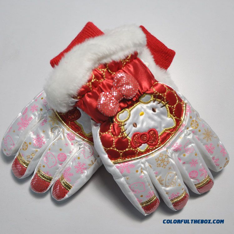 Hellokitty Girls Plus Velvet Warm Winter Ski Gloves Full Finger Gloves Kids Mittens