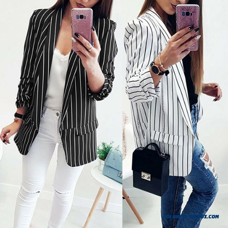 Hengsong Work Striped Office Lady Suits Ol Elegant Women Blazer Jacket Fashion Sheath Autumn Cardigan Femme 379410