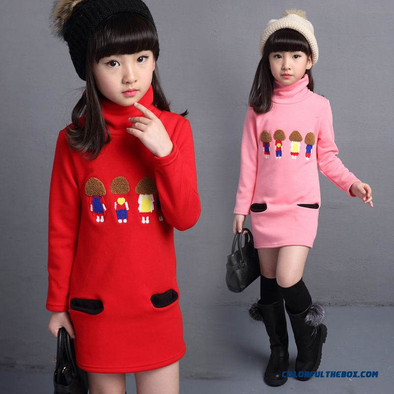 High Collar Medium-long Bottoming Korean Version Of The Lovely Thick Fleece Sweater For Kids Girls