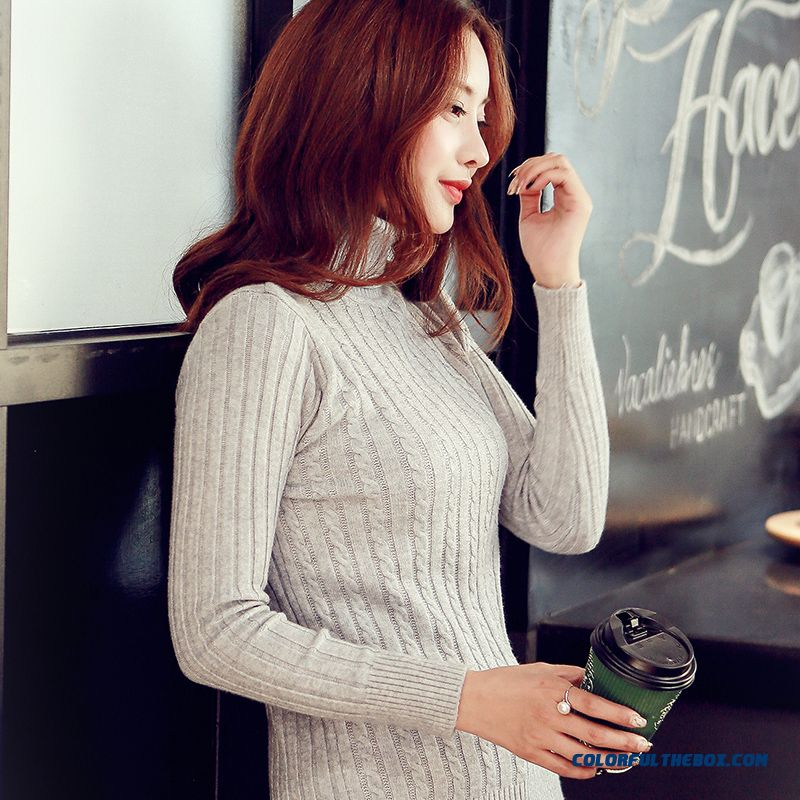High Neck Women Sweater Pull Blouson Bottoming Shirt Slim Thin Long Sleeve Knitwear
