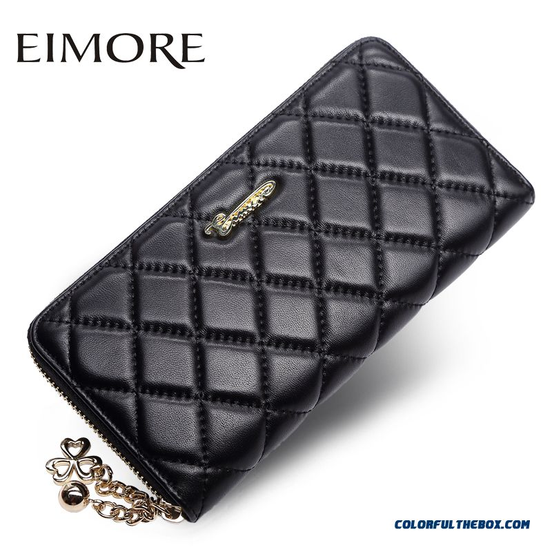 High Quality Colorful Diamond Lattice New Women Clutch Purse Long Zipper Genuine Leather Wallets Bags