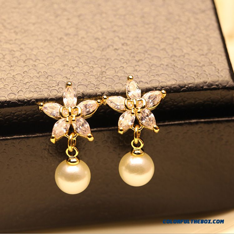 High Quality Fashion Small Flower Zircon Ear Jewelry Wholesale Pearl Women Earrings